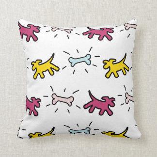 Yellow red Dogs Blue Bones Graffiti Style Pillow