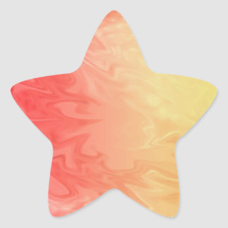 Yellow Red Flame Texture Star Sticker