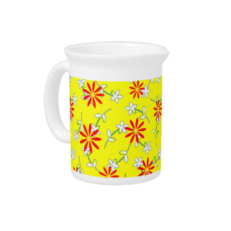 Yellow Red Floral Sunshine 4Katie Drink Pitcher