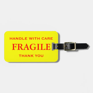 Yellow Red Fragile Handle with Care Thank You Travel Bag Tag