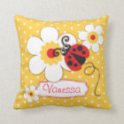 Yellow & red girls ladybug name polka dot pillow