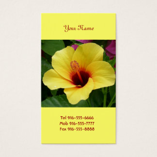Yellow & Red Hibiscus Business Cards