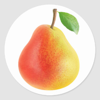 Yellow red pear classic round sticker