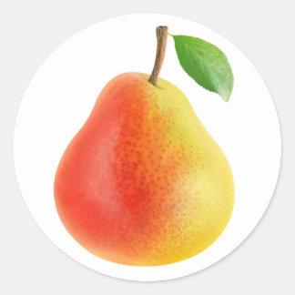 Yellow red pear round sticker