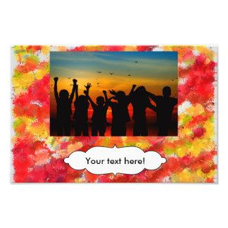 Yellow red splatters art photo