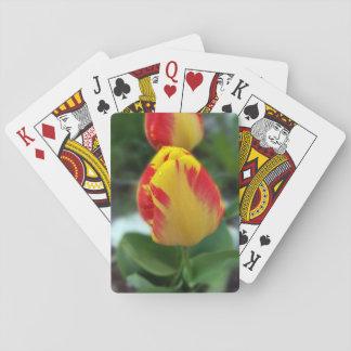 yellow red tulips poker deck