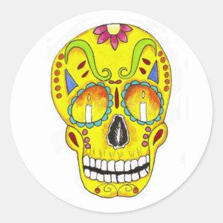 Yellow Remembrance Sugar Skull Classic Round Sticker