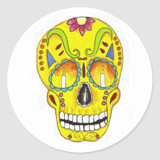 Yellow Remembrance Sugar Skull Round Sticker