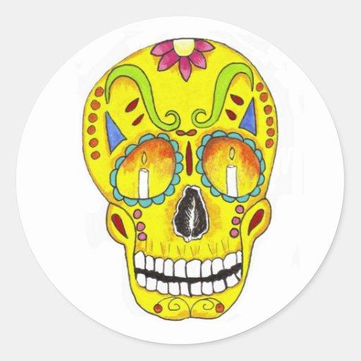 Yellow Remembrance Sugar Skull Stickers