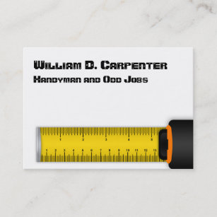 Tape measure business cards business card printing zazzle uk yellow retracting tape measure construction business card reheart Image collections