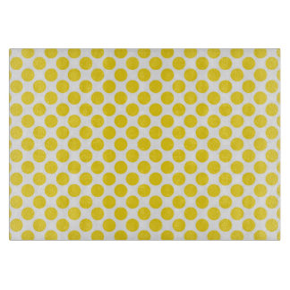 Yellow Retro Colorful Modern Polka Dots Cutting Board