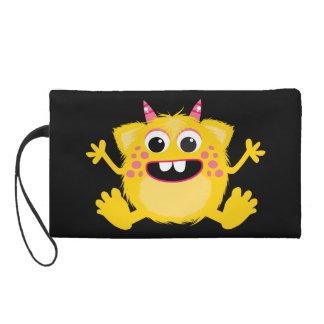 Yellow Retro Cute Monster Wristlet Purses