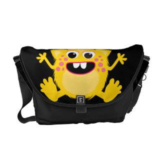 Yellow Retro Cute Monster Messenger Bag