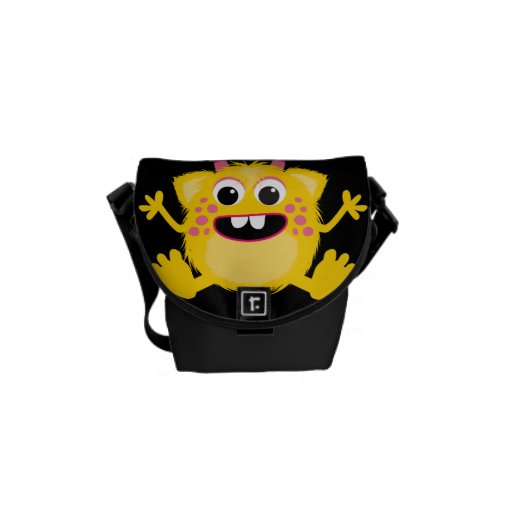 Yellow Retro Cute Monster Courier Bag