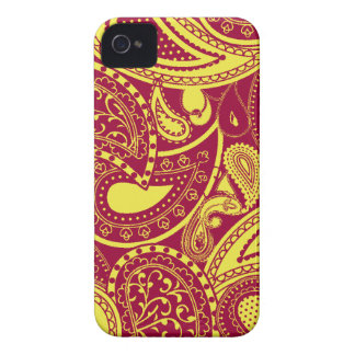 Yellow Retro Paisley swirl pattern iPhone 4 Covers