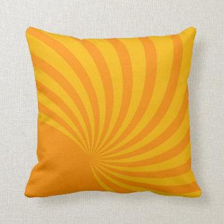 Yellow Retro Rays Throw Pillows