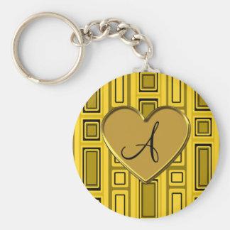 Yellow retro squares monogram key chain