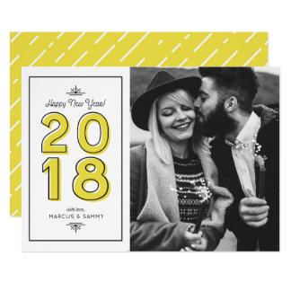 Yellow Retro Typography Happy New Year 2018 Card