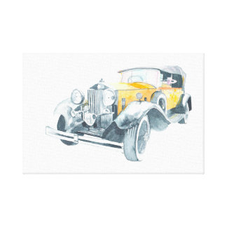 Yellow retro vintage car. canvas print