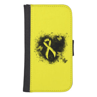 Yellow Ribbon Grunge Heart Samsung S4 Wallet Case