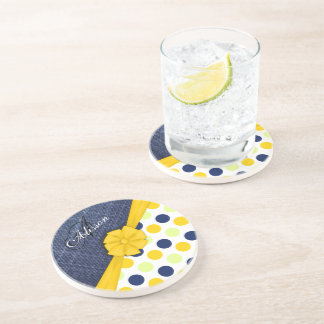 Yellow Ribbon, Jeans Fabric, Dots Pattern Monogram Beverage Coaster