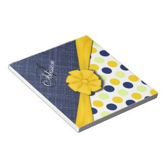 Yellow Ribbon, Jeans Fabric, Dots Pattern Monogram Notepad