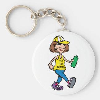 Yellow Ribbon Old Lady Walking Keychain