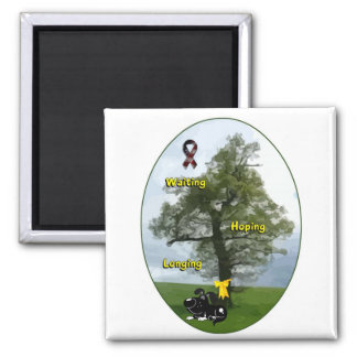 Yellow Ribbon - Shadow Waiting, Hoping, Longing Square Magnet