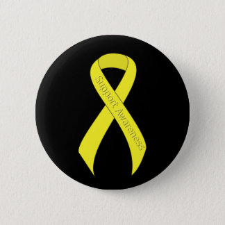 Yellow Ribbon Support Awareness 6 Cm Round Badge