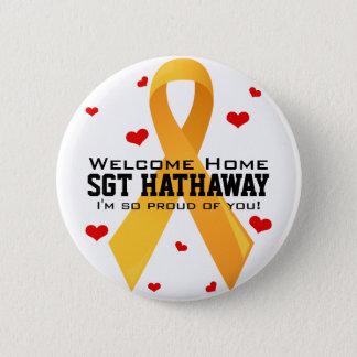 Yellow Ribbon: White 6 Cm Round Badge