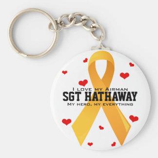 Yellow Ribbon: White Keychain