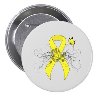 Yellow Ribbon with Butterfly 7.5 Cm Round Badge