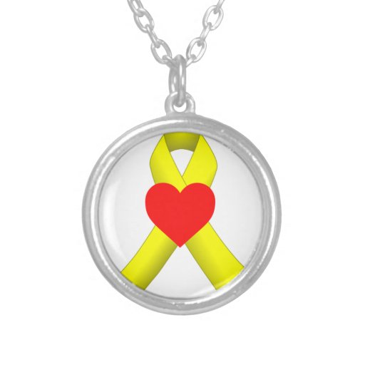yellow ribbon with heart necklace