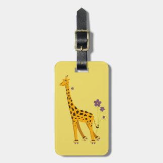 Yellow Roller Skating Cartoon Giraffe Personalized Luggage Tag
