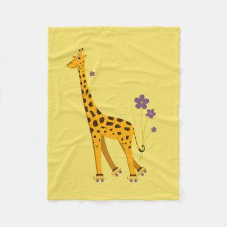 Yellow Roller Skating Funny Cartoon Giraffe Fleece Blanket