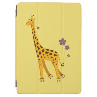 Yellow Roller Skating Funny Cartoon Giraffe iPad Air Cover