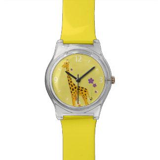 Yellow Roller Skating Funny Giraffe Watch