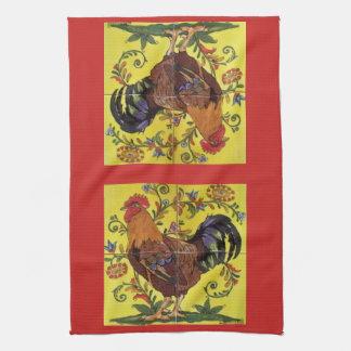 Yellow Rooster Chicken Red Folk Art Kitchen Towel