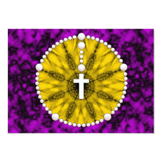 Yellow Rosary Thank You 13 Cm X 18 Cm Invitation Card