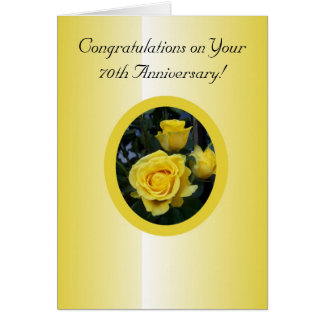 Yellow Rose 70th Wedding Anniversary Card