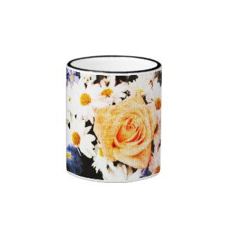 yellow rose and daisies mug
