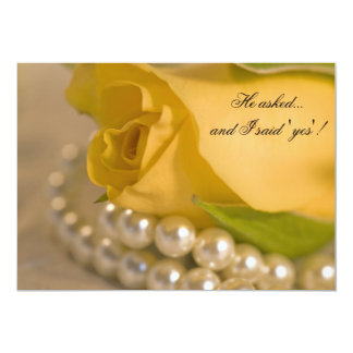 """Yellow Rose and Pearls Engagement Party Invitation 5"""" X 7"""" Invitation Card"""
