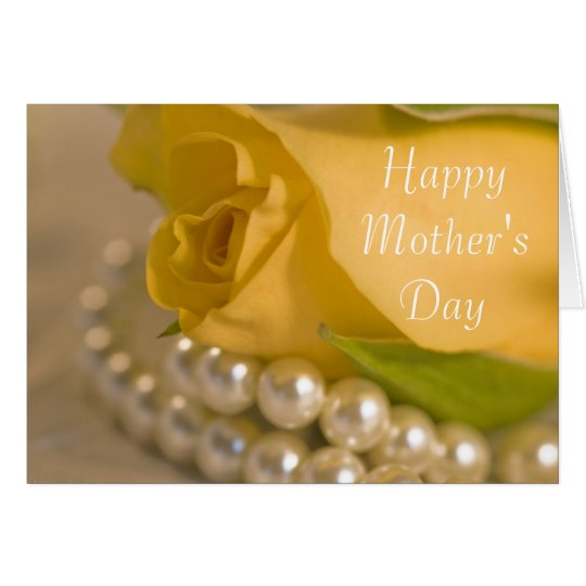 Yellow Rose and Pearls Happy Mothers Day Card