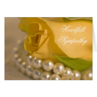 Yellow Rose and Pearls Sympathy Card