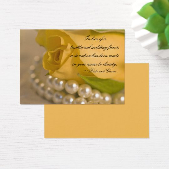 Yellow Rose and Pearls Wedding Charity Favour Card
