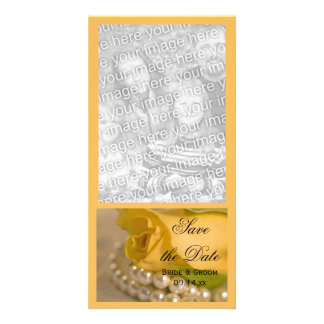 Yellow Rose and Pearls Wedding Save the Date Picture Card