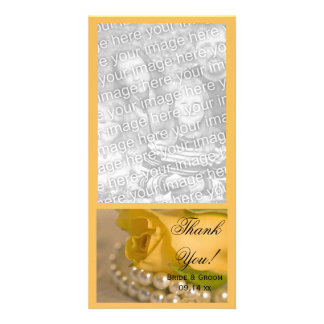 Yellow Rose and White Pearls Wedding Thank You Photo Card Template