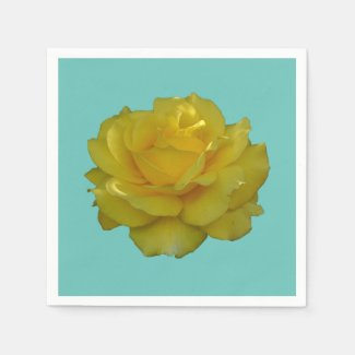 Yellow Rose Bloom Floral Paper Napkins