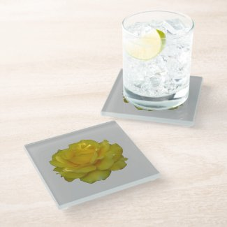 Yellow Rose Bloom Glass Coaster
