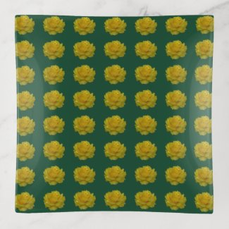 Yellow Rose Bloom Trinket Tray